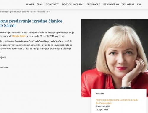 Nastopno predavanje izredne članice Renate Salecl