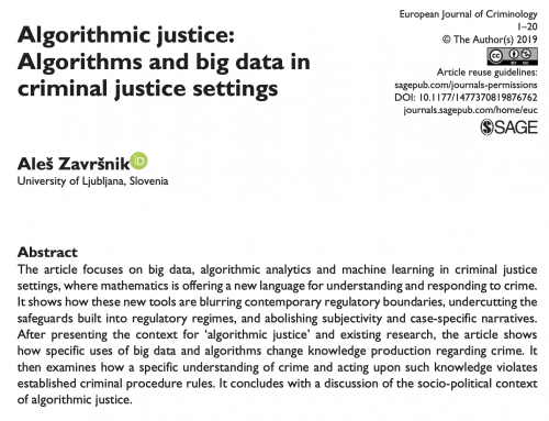 Aleš Završnik – Algorithmic justice: Algorithms and big data in criminal justice settings