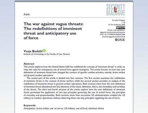 Znanstveni članek našega raziskovalca Vasje Badaliča objavljen v reviji Security Dialogue