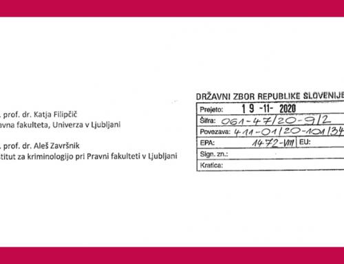 Dr. Filipčič in dr. Završnik pripravila mnenje za 24. nujno sejo Odbora za pravosodje