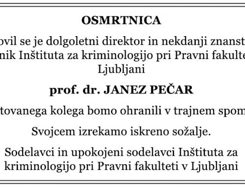 Osmrtnica – prof. dr. Janez Pečar